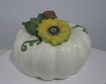 Antique White Ceramic Pumpkin with Hand Painted Sunflower
