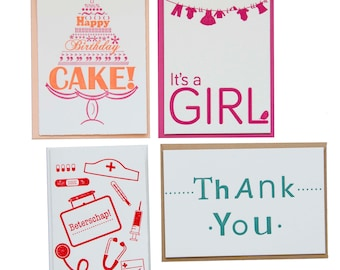 Set of four! -letterpress cards (4 pieces)