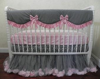 Baby Girl Crib Bedding Set Giselle Gray and Pink - Gray and Pink Baby Bedding, Bumperless Crib Bedding, Crib Rail Cover, Princess Bedding