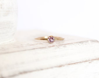 Pink Tourmaline Ring - October Birthstone Ring - 14k Gold Fill or Sterling Silver - Simple Stacking Ring - Tourmaline Jewelry Pale Pink Ring