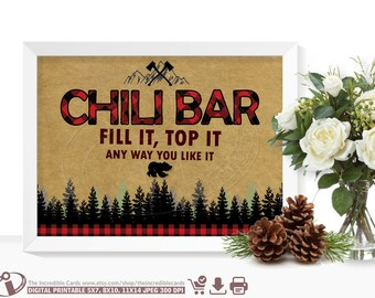 Chili bar sign LUMBERJACK Chili bar sign Lumberjack First Birthday Party, Lumberjack baby shower Buffalo Plaid, Instant Download