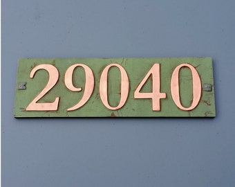 """Copper house address plaque 3""""/75mm, 4""""/100 mm, with plywood back, 5 x nos. custom made, screw fitting for stucco, brick or timber g"""