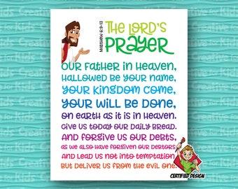 The Lords Prayer Christian Kids Wall Decor, Sunday School Wall Art, Christian Kids Wall Art, Kids Bible Verse, Nursery Decor