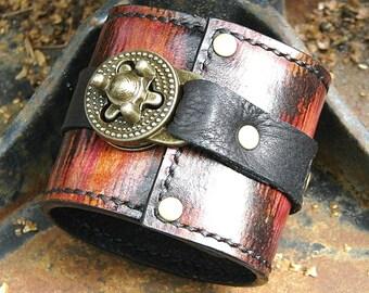 Ikat Steampunk Leather Travel Wrist Wallet Bracelet Cuff for Men & Women that travel - World Map Traveler