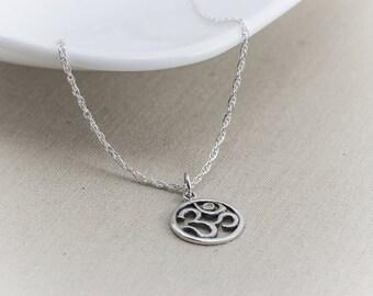 Om Necklace, Ohm Necklace, Diamond Necklace, Sterling Silver Necklace, Charm, Ohm,  Yoga