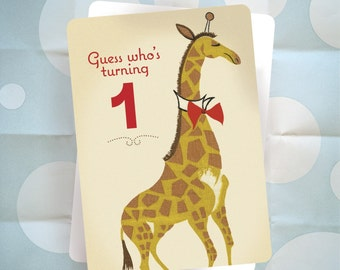 First Birthday Party Invitation - Giraffe - Vintage Barkcloth Design - Set of 20 - Ready to Ship