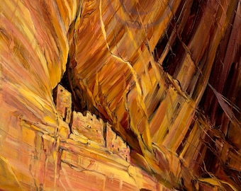Canyon de Chelly Whitehouse Ruin Ancient ones stone Adobe homes Southwest lifestyle giclee print oil painting canvas art interior design