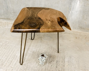 LIVE | Walnut Side Table | Brass Plated Hairpin Legs