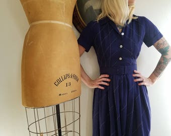 Vintage 1950s Rosenfeld dress | 50s navy shirtwaist