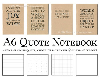 Quote Notebook - Choice of Quotations, Ruled Grid or Plain Pages | Recycled Kraft Bullet Journal | Eco Office Gift, Literary Gift for Writer