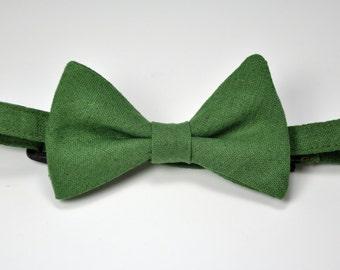 Boy's Bow Tie in Bottle Green Linen