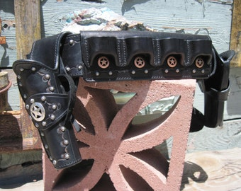 Gun Leather - Men's SASS Competition Rig - Gun Belt with Dual Holsters - Shotgun shell Slide - Custom Gun Leather
