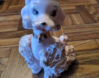 Vintage Pink Spaghetti Poodle with long eyelashes