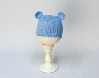 Minimalist Baby Bear Hat knitting PATTERN - cute stocking cap hat with bear ears for baby - permission to sell finished items
