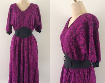 1970's Purple Floral Sweater Dress Size Small Medium Large by Maeberry Vintage