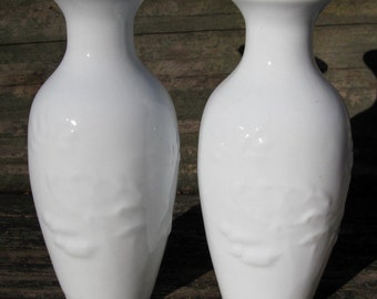 Chinese eggshell porcelain vase pair Blanc de Chine lotus decoration white 4.5in