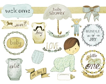 Baby boy clipart, baby shower clipart, nursery clipart, birth announcement, baby shower invites, baby shower printables,ROSABEBE
