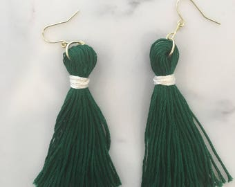 Green and White Long Tassels