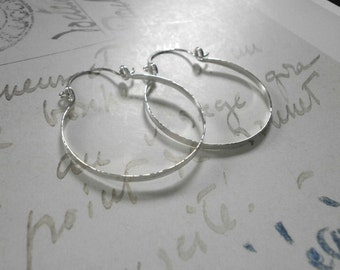 "Sterling Silver Hinged Hoops Small Hammered Silver Hoop Earrings Wire Jewelry Classic Hoops 1.5"", 2"", 2.5"", 3"""
