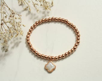 Pearl bracelet Hematite Rosegold with mother of pearl Pendant