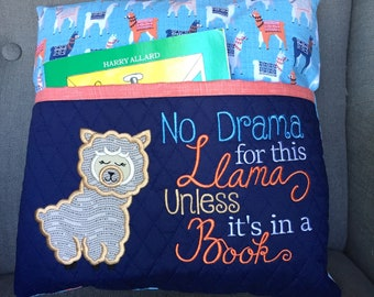 Llama Book Pocket Pillow - Personalized Gifts Storybook Pillow - Reading pillow - Bedtime Story Pillow - Gift for Reader