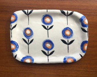 Mod Poppies Ceramic Tray in Blue and Peach