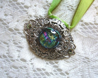 Forever Yours Victorian Pendant And Silk Ribbon Free Shipping in USA