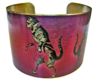 DANCING CAT cuff bracelet brass Free Shipping to USA Gifts for her
