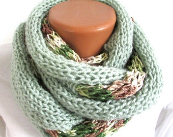 Womens Scarf Skinny Long Lace Knitted, Scarf Shawl Boho Green Cotton Acrylic Viscose,  Spring Summer Winter Scarf Gift Women Girl  Her