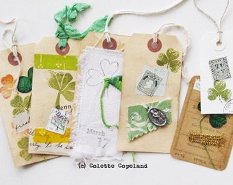 St Patrick s Day, original tag art, set of 6
