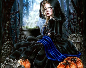 A Samhain Night - 8x10' Print- Fantasy Gothic Art by Enys Guerrero