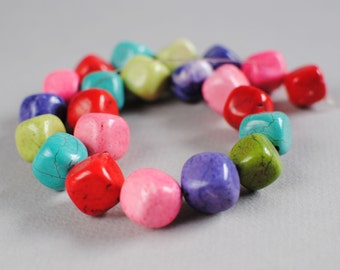 Mixed Magnesite Nuggets - 15mm -- Mixed Colors -- 15 inch strand
