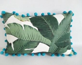 Lumbar Pillow Cover Tropical Palm Leaves Bahama Blue Pom Pom Trim