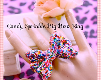 Sprinkle Bow Ring, Delish Real Sprinkles Adjustable Jumbo Bow Resin Ring , Kawaii, Scene , Birthday, Photos, Lolita  By: Tranquilityy