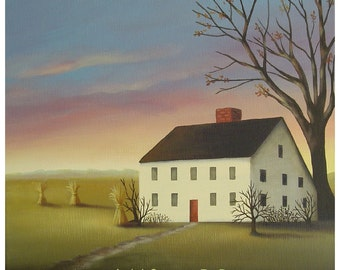 Autumn House -  8 x 8 Fine Art Print of a Colonial Farmhouse in Autumn with Haystacks at Sunset