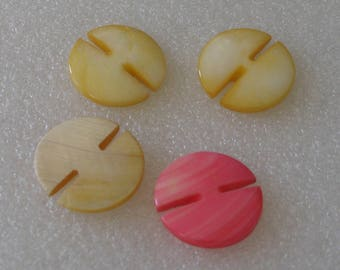 Vintage 23mm Slotted Shell Buttons Carved Shell Button 4 Piece