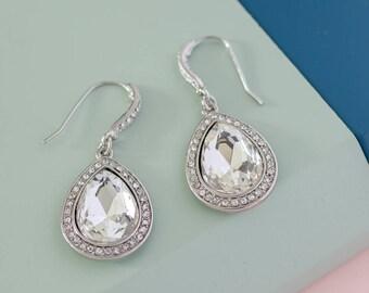 Crystal teardrop Earrings, Wedding Bridesmaid Earrings,  Bridal Earrings, Geometric earrings, holiday gift, Dainty earrings, Minimalist