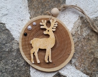 Horned Stag decor, Stag and Moon Phase hanging, God and Goddess altar decor, Yule Tree decor,