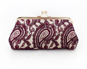 Burgundy Champagne Alencon Paisley Lace Clutch | Bridal Clutch | Personalized Gift for Mom