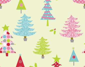 Christmas Fabric, Christmas in July Sales, Riley Blake, Christmas Trees, Yellow Fabric, Fat Quarter, Cotton Fabric By The Yard, Quilting