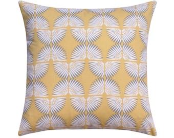 Yellow Grey Pillow Cover, Abstract Throw Pillow, Yellow Decorative Pillow Covers, Caterpillar Sunshine Yellow Cushion Cover, Designer Pillow