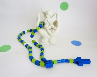 Rosary made With Lego Bricks - Blue and Lime Green Boy First Communion Gift