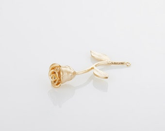 Rose Pendant Matte Gold-Plated - 1 Pieces [P0057-MG]