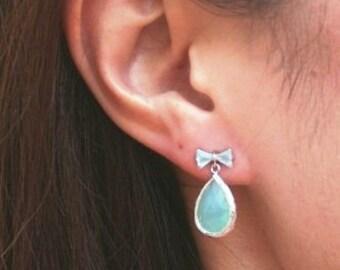 SALE Silver Aqua Earrings. Aqua Earrings. Opal Earrings. Seafoam. Bridesmaid Earrings. Bridal Earrings. Wedding Jewelry. Wedding Earrings.
