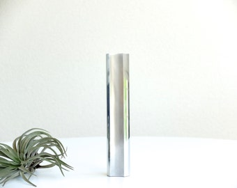 French modernist minimalist steel vase , 1970s / sculpture minimalist modernist mid century modern