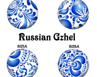 Interchangeable Magnetic Inserts, Interchangeable Jewelry, Fits 23mm Pendant Trays, Magnetic Pendant Inserts, Bracelet Inserts,Russian Gzhel
