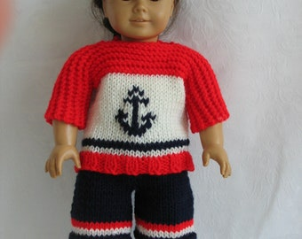 "Hand-knitted Anchors Away outfit for American Girl and all 18"" Dolls"