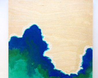 Artifacts Squared - Cloud Artifact - Blue Green Abstract with White Geos - Lauren Strom - Modern Abstract Landscape