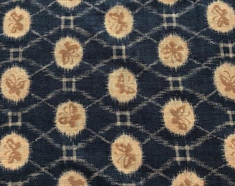 Navy Tan Butterfly Fabric