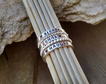 Mothers Day Gifts for Wife Mom Daughter Her Woman Women Personalized Stackable Name Rings Grandma Grandmother Sister Friend Girlfriend